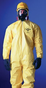 DuPont QC122T Yellow Tychem QC Coverall w/ Hood and Attached Socks in use. Shop now!