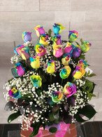 Two dozen rainbow roses - FREE DELIVERY