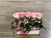 Pink rose planter