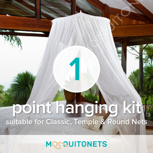 One point mosquito net hanging kit for all mosquito nets requiring one point of attachment.