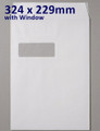 Board Backed Envelope White C4 WINDOW 324x229mm - boxed 125