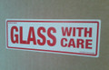 Printed Label GLASS WITH CARE 150x50mm - packed 10