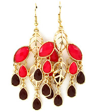 Earrings E 4109 GLD RED