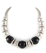 Necklace  N 675001-12 SLV BLK