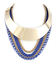 Necklace  N 50081 GLD BLU