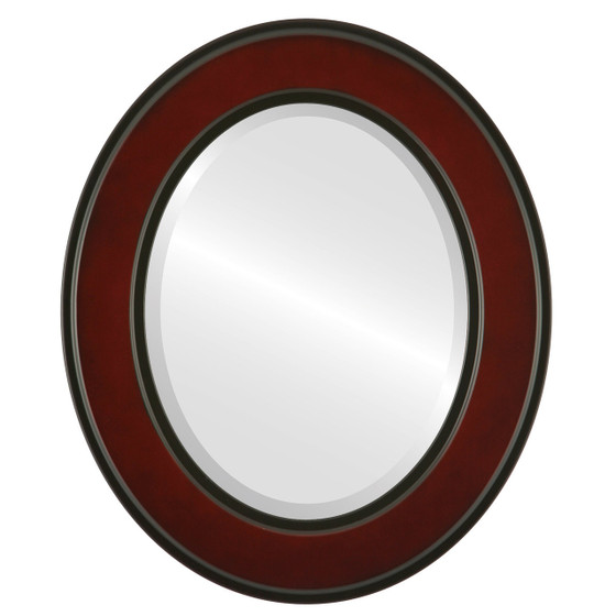 Beveled Mirror - Montreal Oval Frame - Rosewood