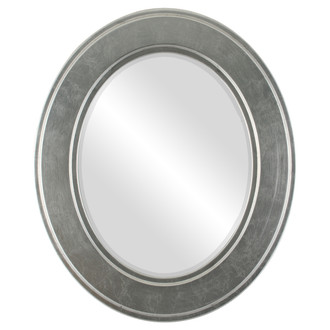 Beveled Mirror - Montreal Oval Frame - Silver Leaf with Black Antique