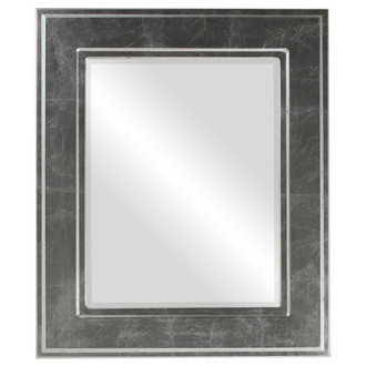 Beveled Mirror - Montreal Rectangle Frame - Silver Leaf with Black Antique