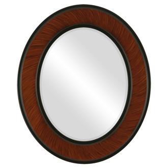 Beveled Mirror - Montreal Oval Frame - Vintage Walnut