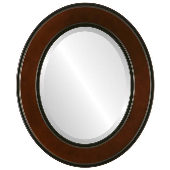 Beveled Mirror - Montreal Oval Frame - Walnut