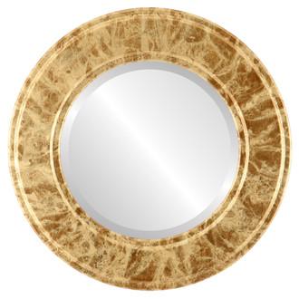 Beveled Mirror - Ramino Round Frame - Champagne Gold