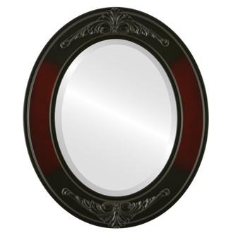 Beveled Mirror - Ramino Oval Frame - Rosewood