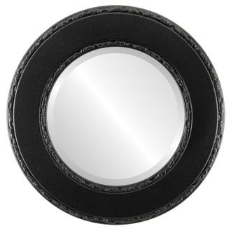 Beveled Mirror - Paris Round Frame - Black Silver