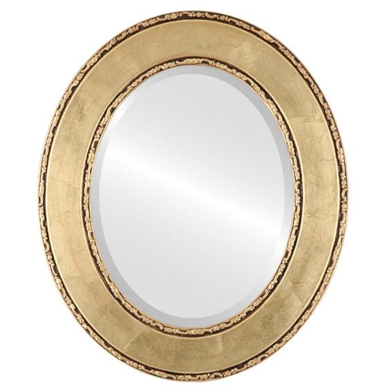 Beveled Mirror - Paris Oval Frame - Gold Leaf