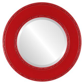 Beveled Mirror - Paris Round Frame - Holiday Red