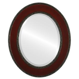 Beveled Mirror - Paris Oval Frame - Rosewood