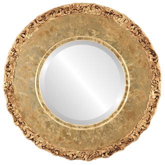 Beveled Mirror - Williamsburg Round Frame - Champagne Gold