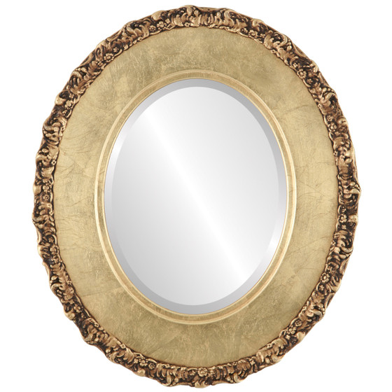 Beveled Mirror - Williamsburg Oval Frame - Gold Leaf