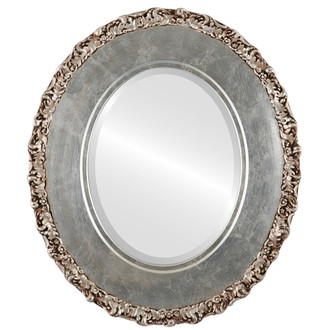 Beveled Mirror - Williamsburg Oval Frame - Silver Leaf with Brown Antique