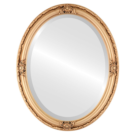 Beveled Mirror - Jefferson Oval Frame - Gold Paint