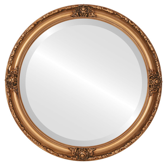 Beveled Mirror - Jefferson Round Frame - Gold Paint