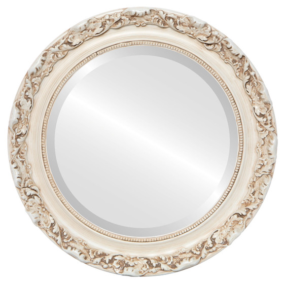 Beveled Mirror - Rome Round Frame - Antique White
