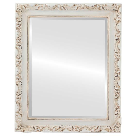 Beveled Mirror - Rome Rectangle Frame - Antique White