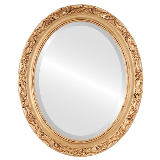 Beveled Mirror - Rome Oval Frame - Gold Paint