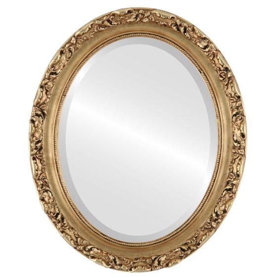 Beveled Mirror - Rome Oval Frame - Gold Leaf