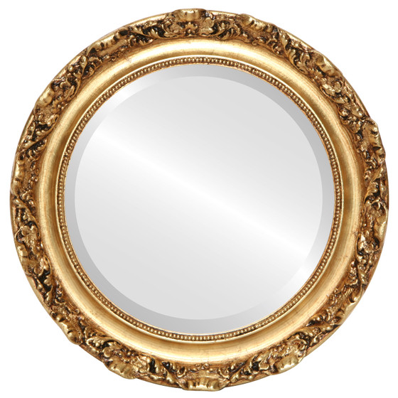 Beveled Mirror - Rome Round Frame - Gold Leaf