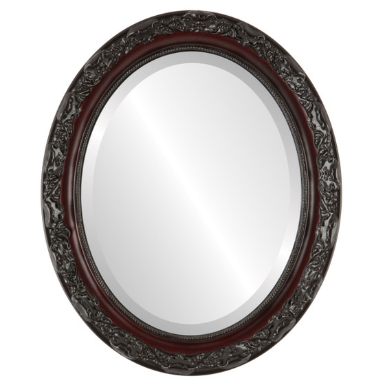 Beveled Mirror - Rome Oval Frame - Rosewood