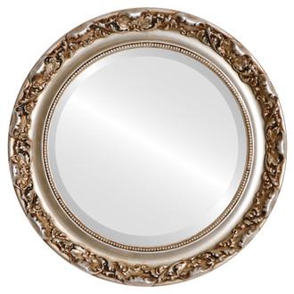 Beveled Mirror - Rome Round Frame - Silver