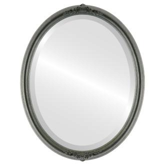 Beveled Mirror - Contessa Oval Frame - Black Silver