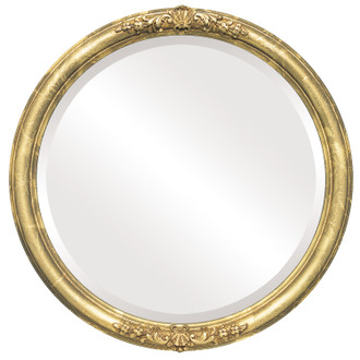 Beveled Mirror - Contessa Round Frame - Champagne Gold