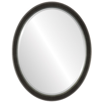 Beveled Mirror - Toronto Oval Frame - Black Silver