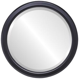 Beveled Mirror - Toronto Round Frame - Gloss Black