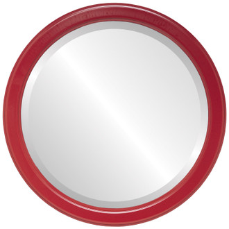 Beveled Mirror - Toronto Round Frame - Holiday Red