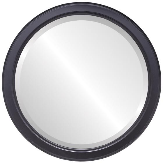 Beveled Mirror - Toronto Round Frame - Matte Black