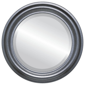 Beveled Mirror - Philadelphia Round Frame - Black Silver