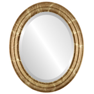 Beveled Mirror - Philadelphia Oval Frame - Champagne Gold