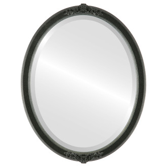 Beveled Mirror - Athena Oval Frame - Black Silver