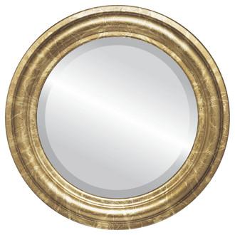 Beveled Mirror - Philadelphia Round Frame - Champagne Gold
