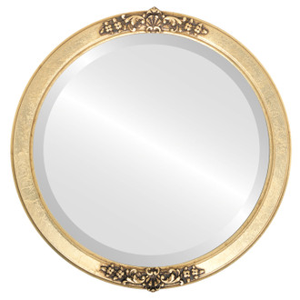 Beveled Mirror - Athena Round Frame - Gold Leaf