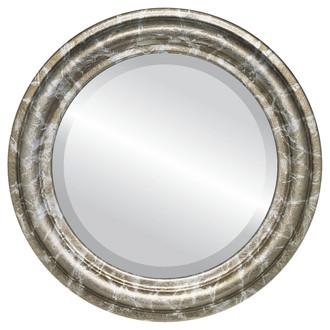 Beveled Mirror - Philadelphia Round Frame - Champagne Silver