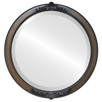 Beveled Mirror - Athena Round Frame - Walnut