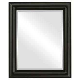 Beveled Mirror - Philadelphia Rectangle Frame - Gloss Black