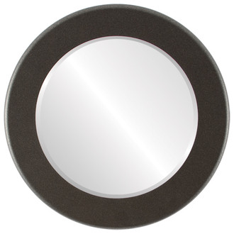 Beveled Mirror - Avenue Round Frame - Black Silver