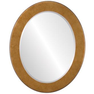 Beveled Mirror - Avenue Oval Frame - Burnished Gold