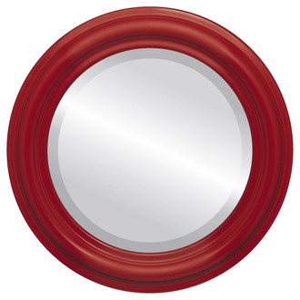 Beveled Mirror - Philadelphia Round Frame - Holiday Red