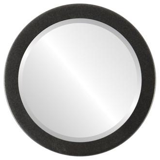 Beveled Mirror - Vienna Round Frame - Black Silver